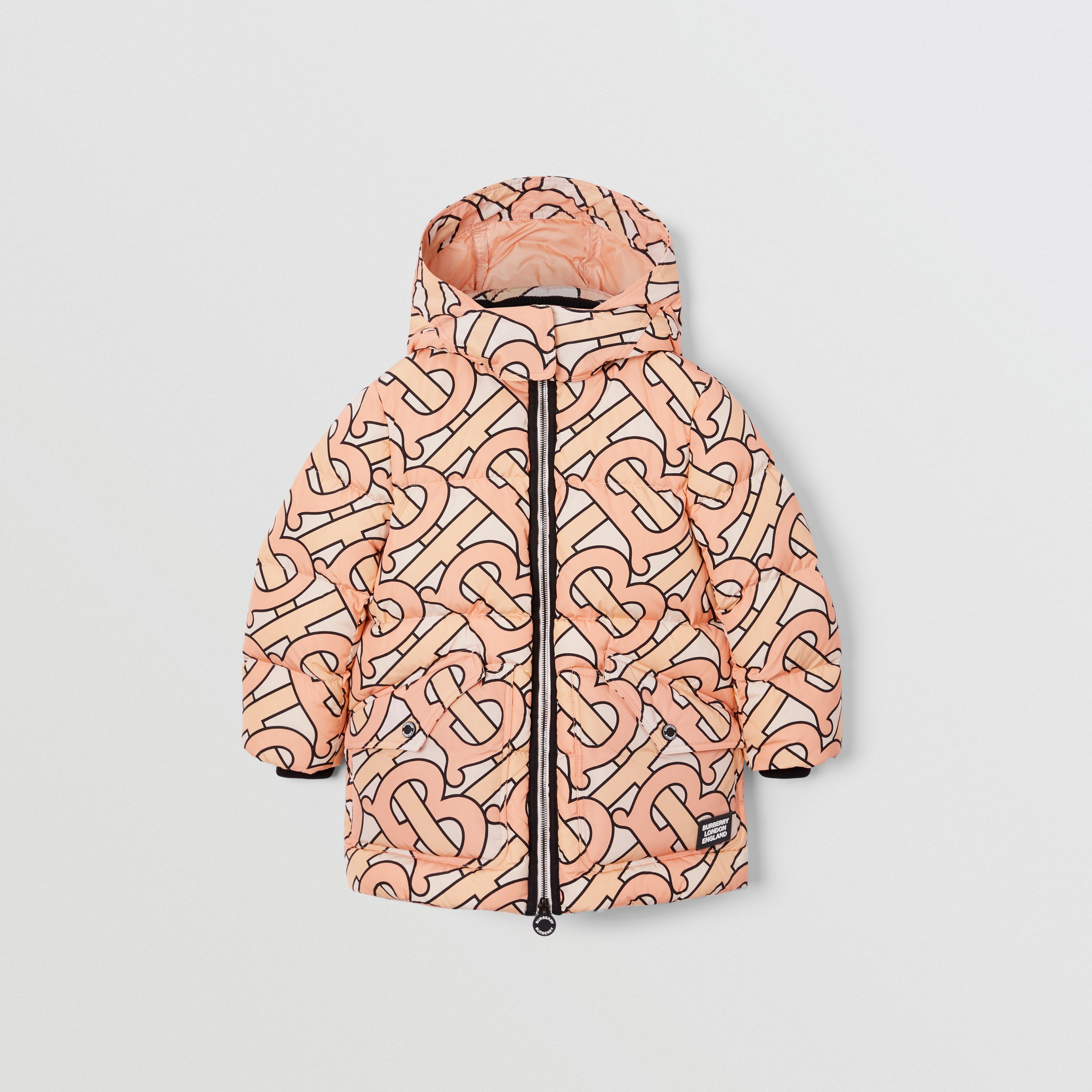 Monogram Print Puffer Coat in Rose Pink | Burberry - 1