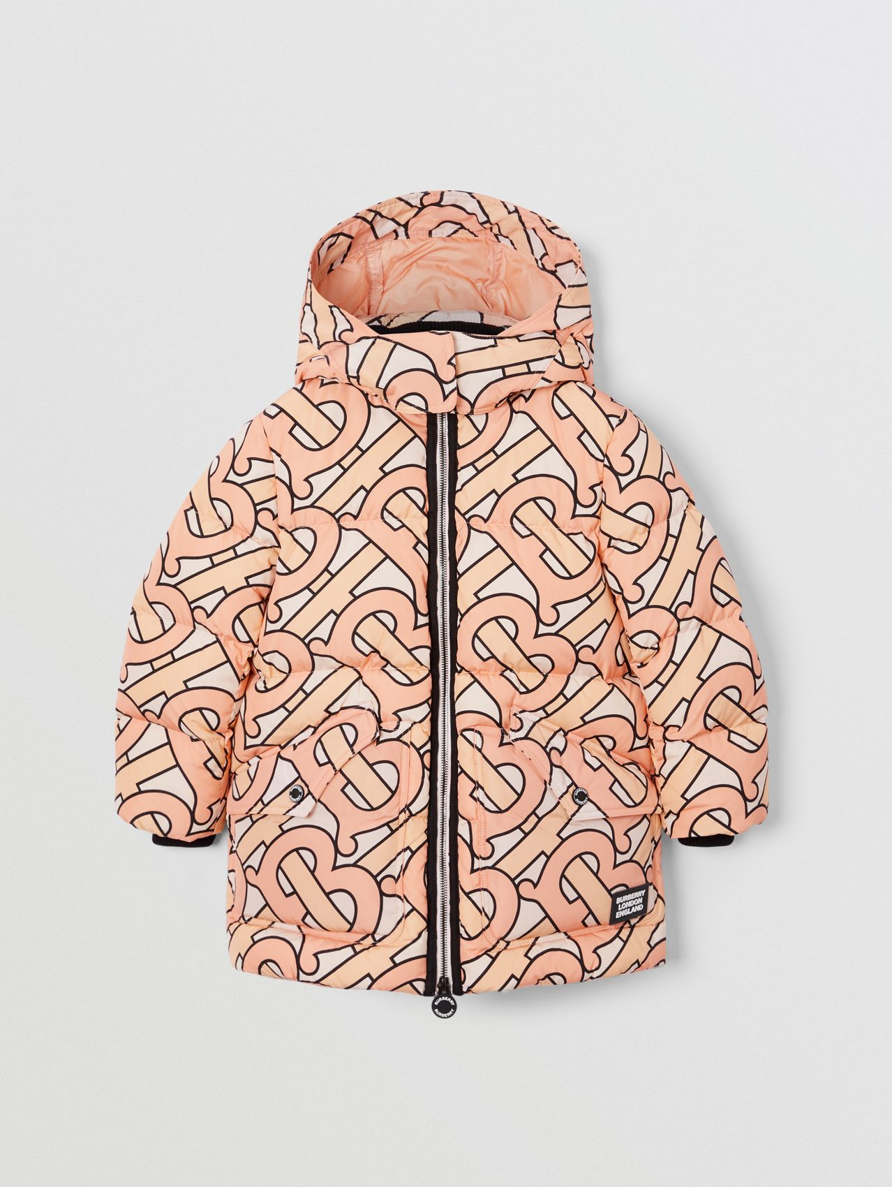 Monogram Print Puffer Coat in Rose Pink
