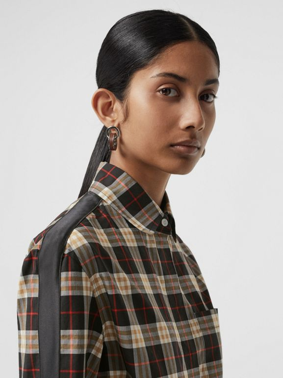 Stripe Detail Check Cotton Shirt in Midnight - Women | Burberry - cell image 1