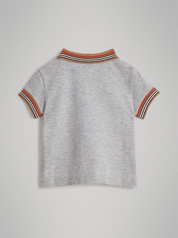Heritage Stripe Detail Cotton Polo Shirt in Grey Melange - Children | Burberry - cell image 3