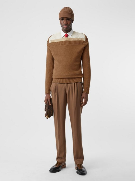 Boat Neck Wool Sweater in Dark Walnut