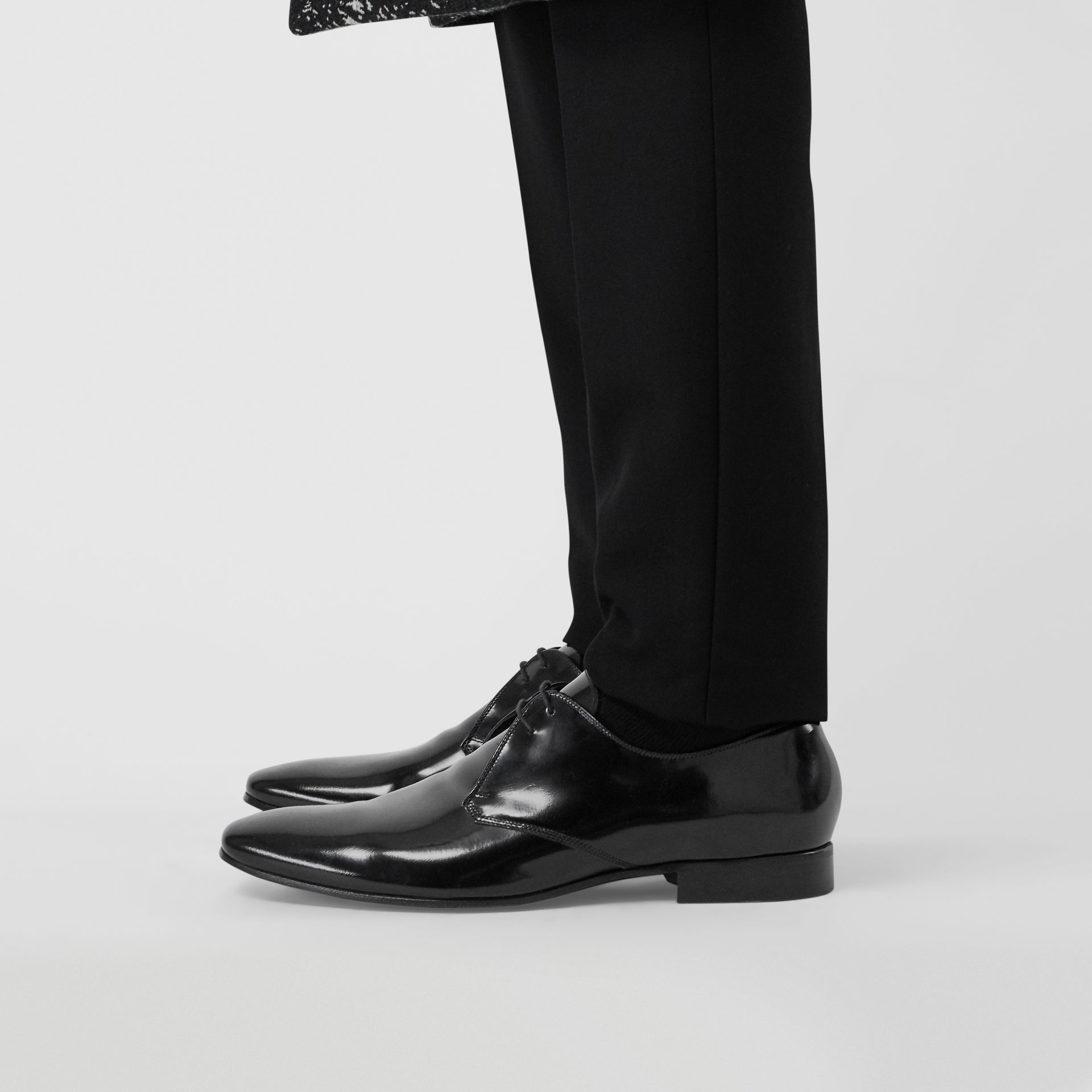 Polished Leather Lace-up Shoes in Black - Men | Burberry - gallery image 2