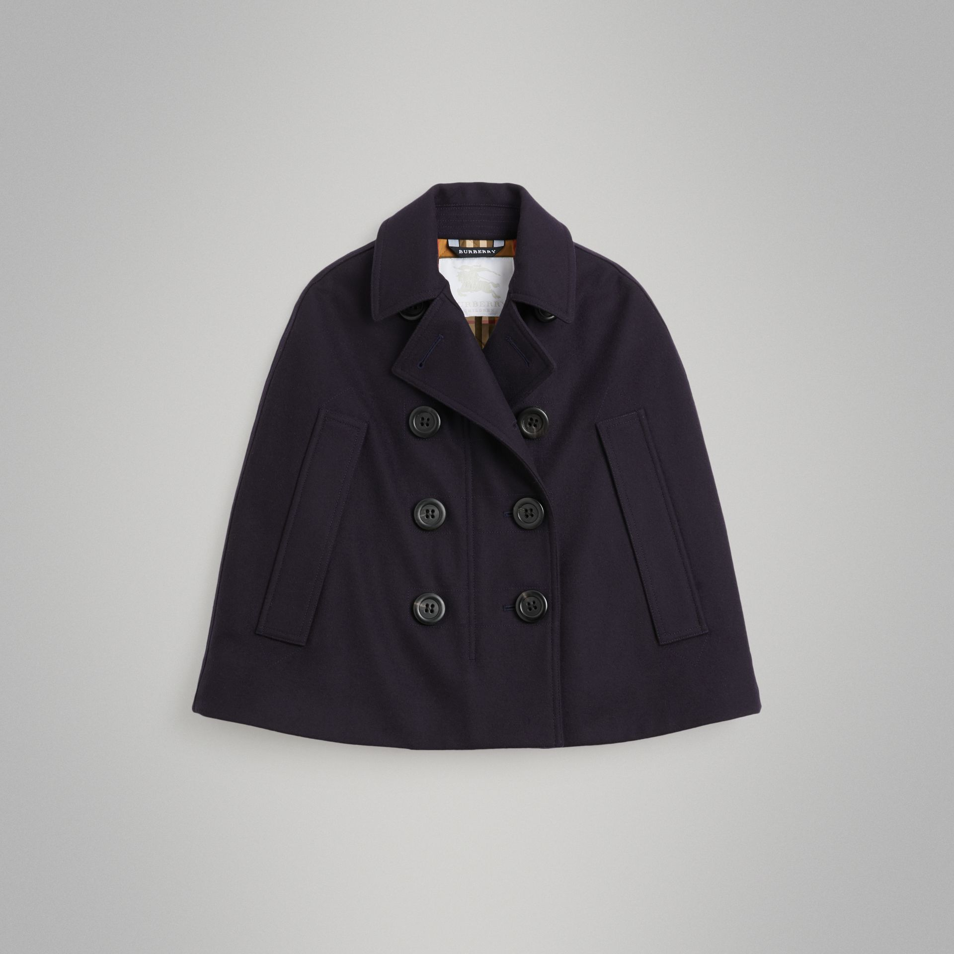 Wool Pea Coat Cape in Navy | Burberry United Kingdom - gallery image 0