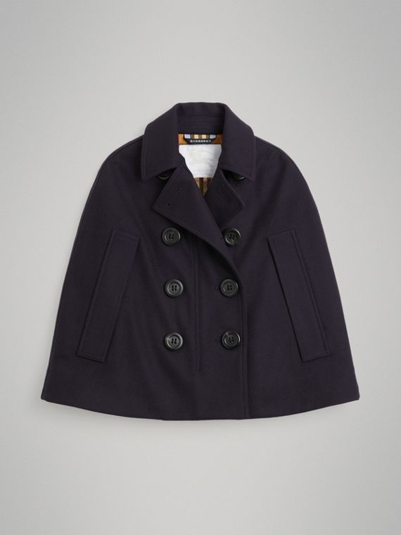 Wool Pea Coat Cape in Navy