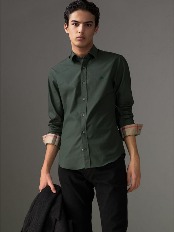 Check Detail Stretch Cotton Poplin Shirt in Dark Forest Green