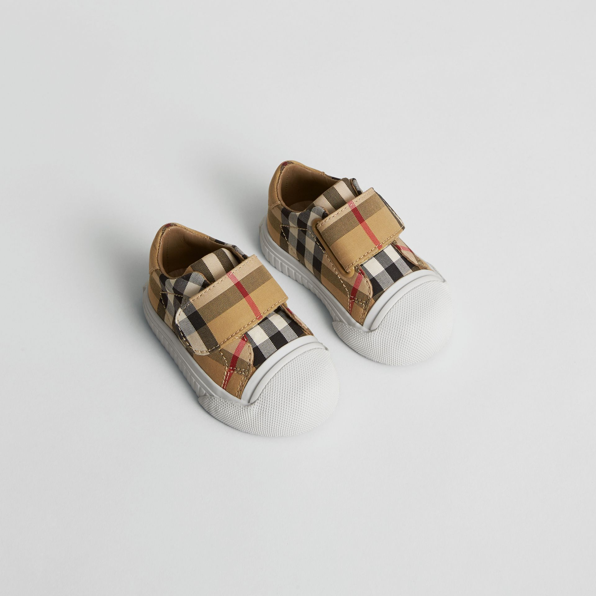 Vintage Check and Leather Sneakers in Antique Yellow/optic White - Children | Burberry United Kingdom - gallery image 0