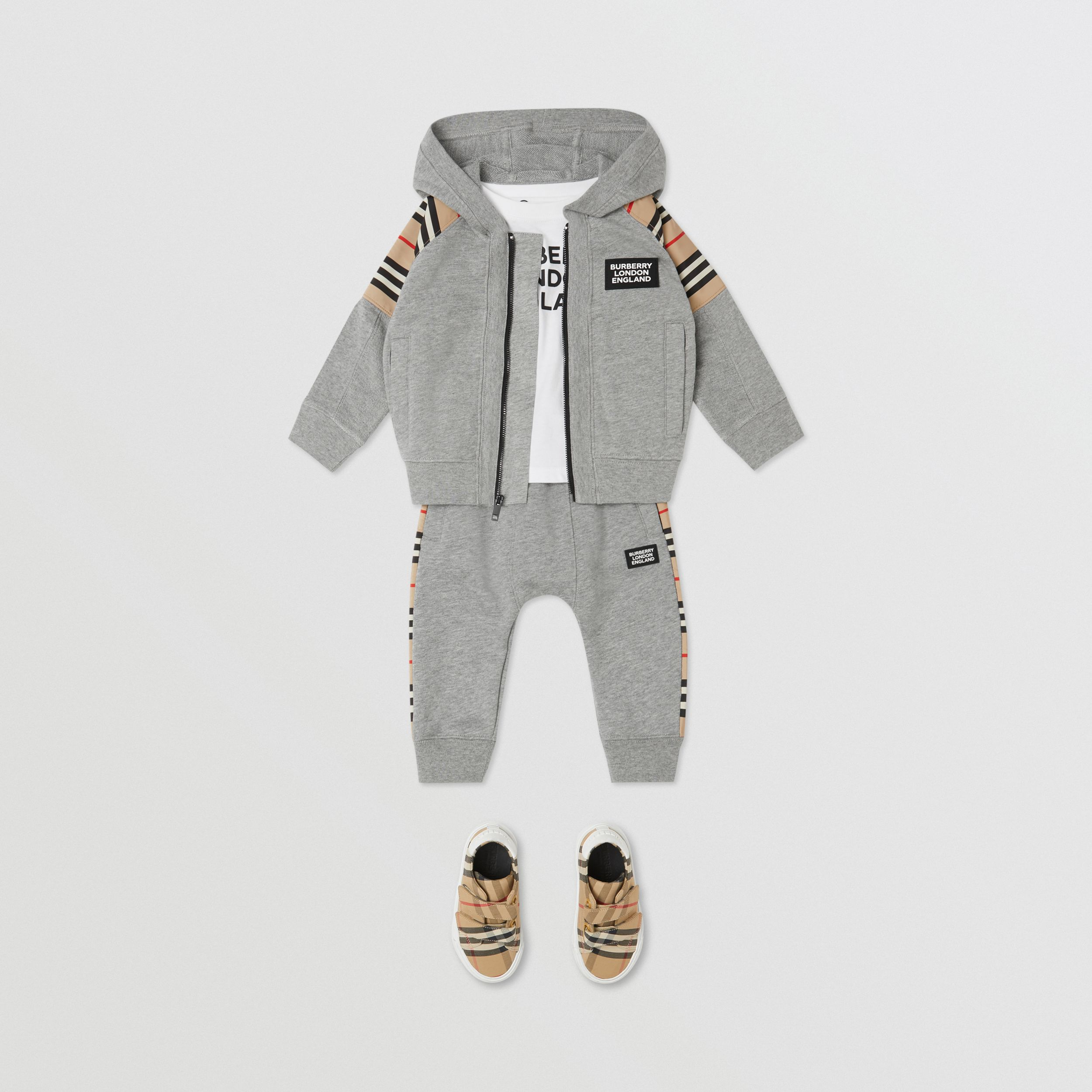 Icon Stripe Panel Cotton Hooded Top - Children | Burberry - 4