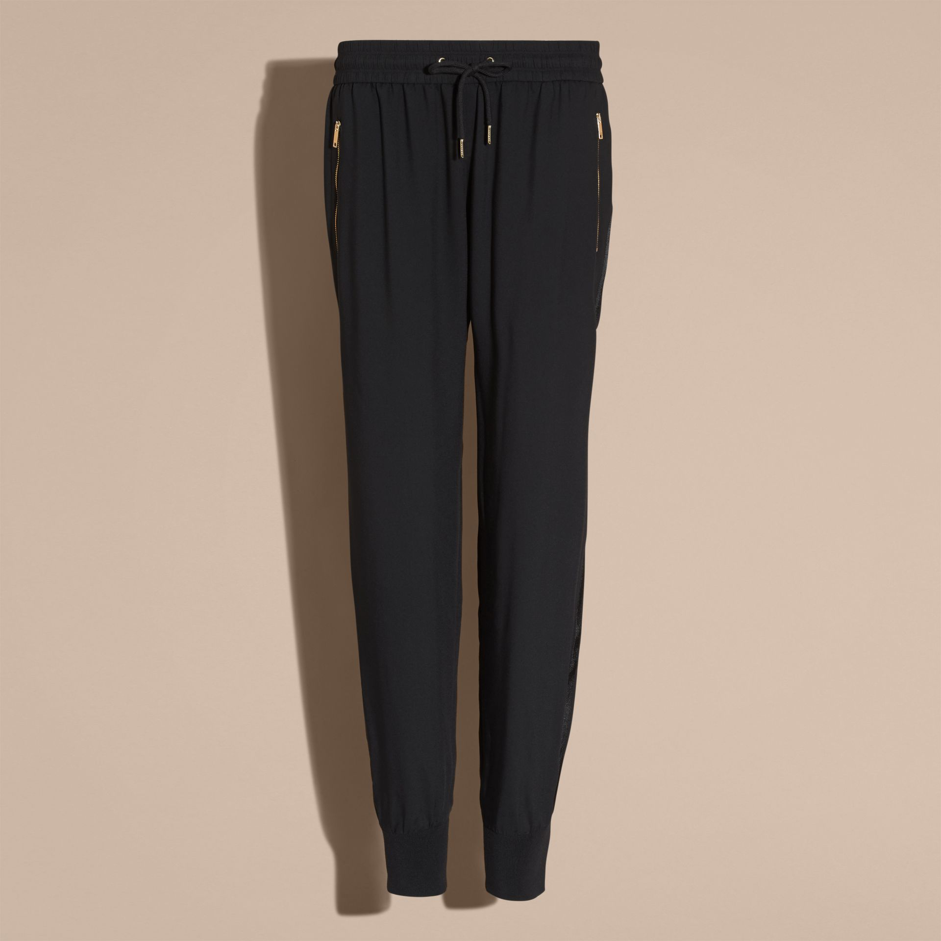 Zip Detail Jersey Sweat Pants Black - gallery image 4