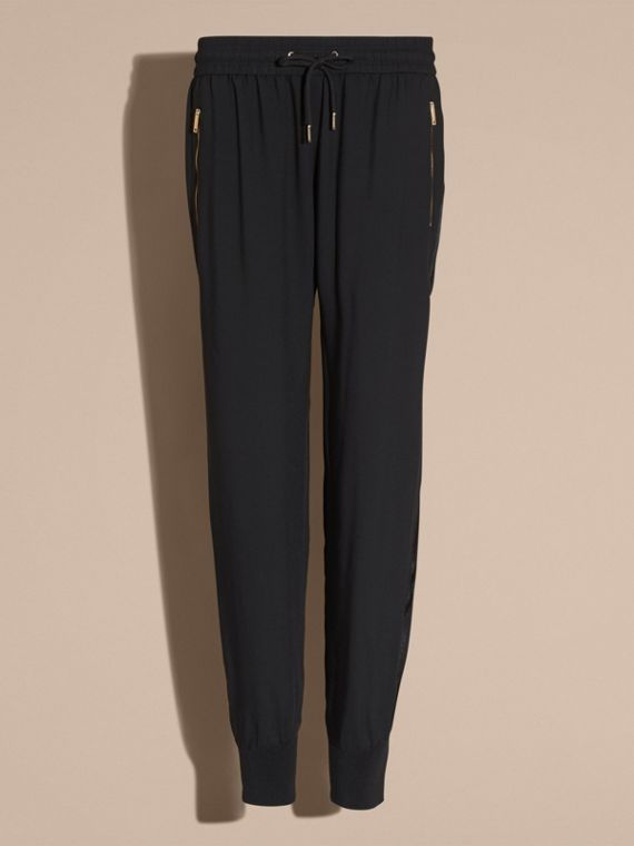 Black Zip Detail Jersey Sweat Pants Black - cell image 3