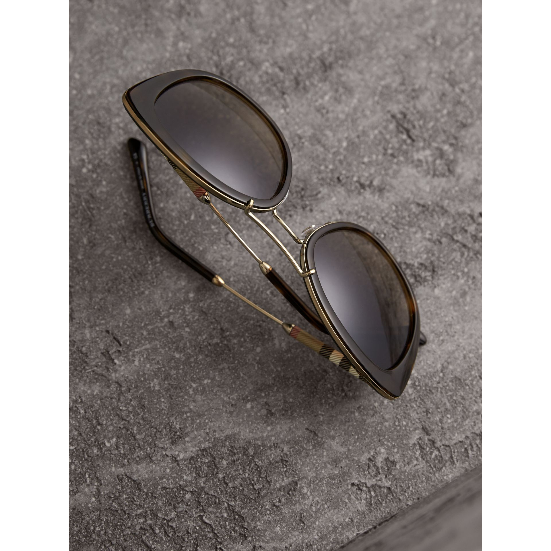 Check Detail Round Frame Sunglasses in Dark Brown - Women | Burberry - gallery image 3