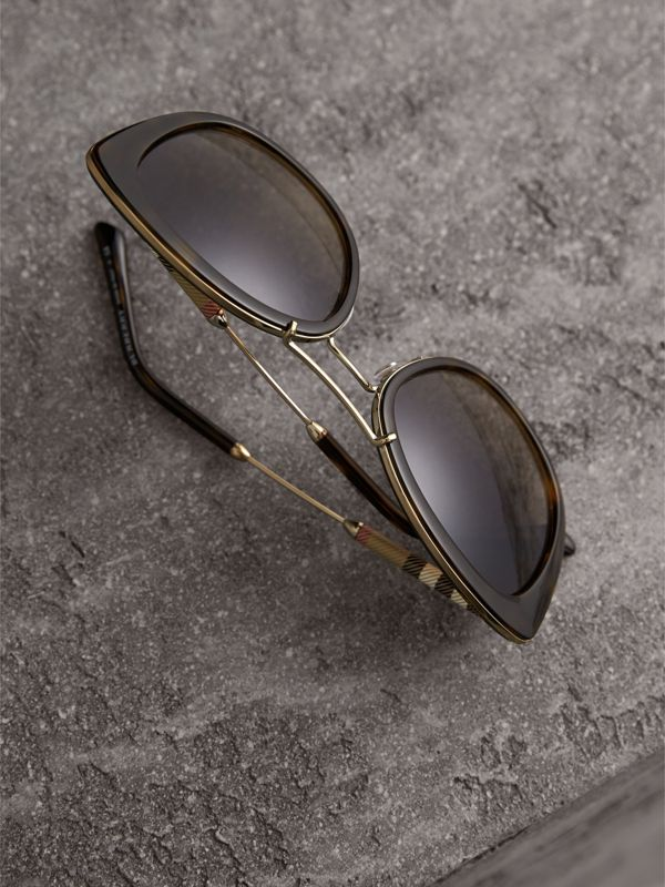 Check Detail Round Frame Sunglasses in Dark Brown - Women | Burberry - cell image 2