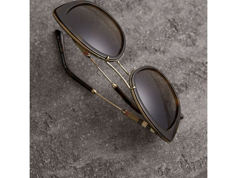 Check Detail Round Frame Sunglasses in Dark Brown - Women | Burberry Canada - cell image 2