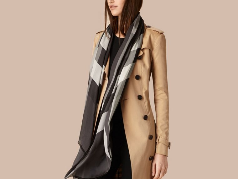 Lightweight Check Silk Scarf in Mid Grey - Women | Burberry - cell image 2