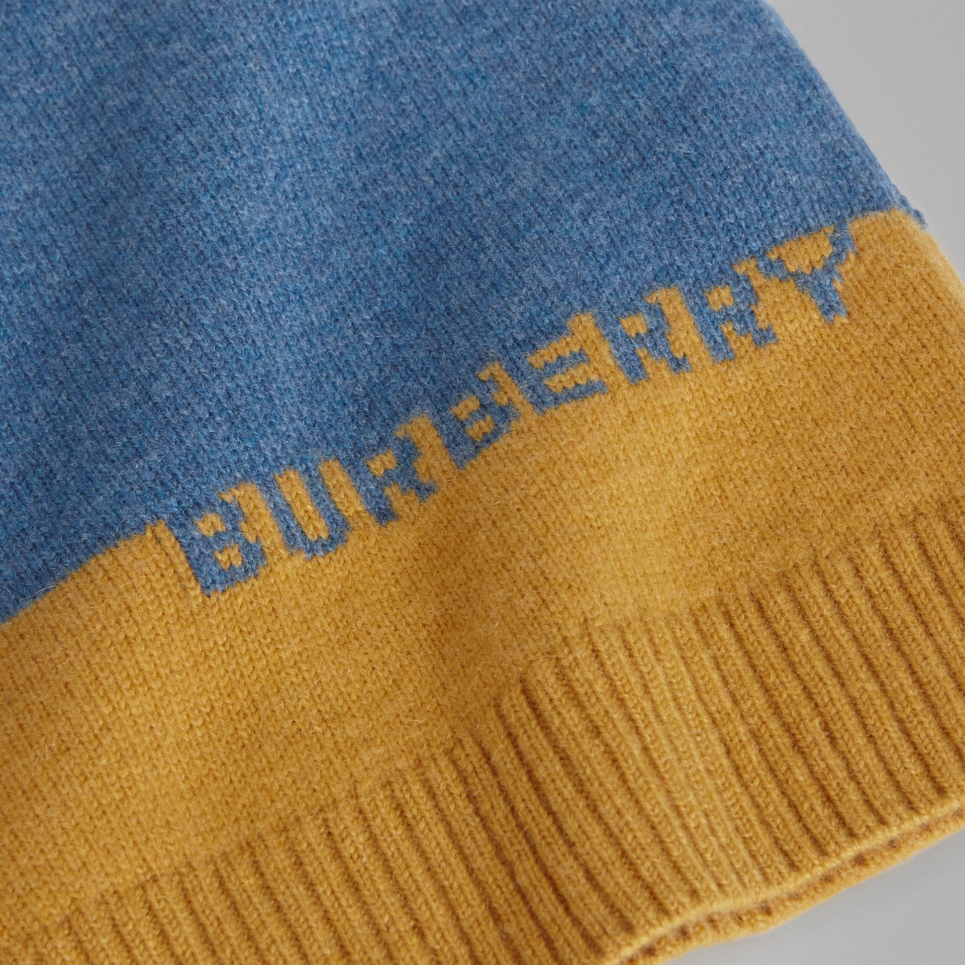Logo Intarsia Cashmere Sweater in Dusty Blue Melange - Boy | Burberry - gallery image 1