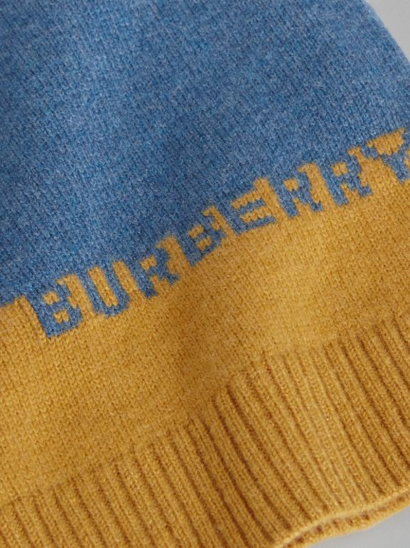 Logo Intarsia Cashmere Sweater in Dusty Blue Melange - Boy | Burberry - cell image 1