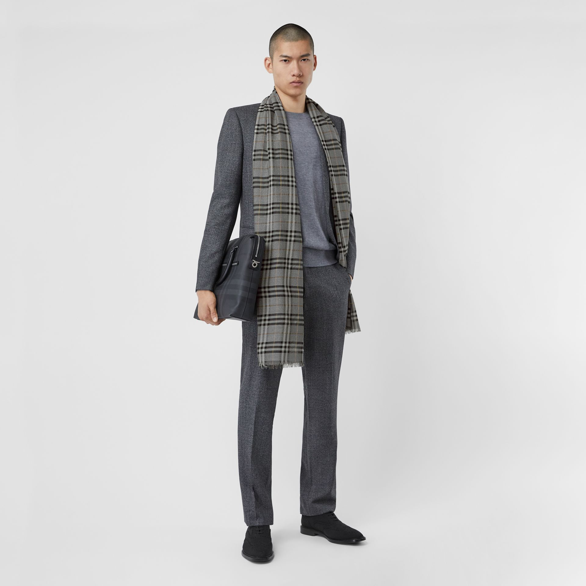 Metallic Vintage Check Wool Silk Blend Scarf in Pewter Grey | Burberry - gallery image 6