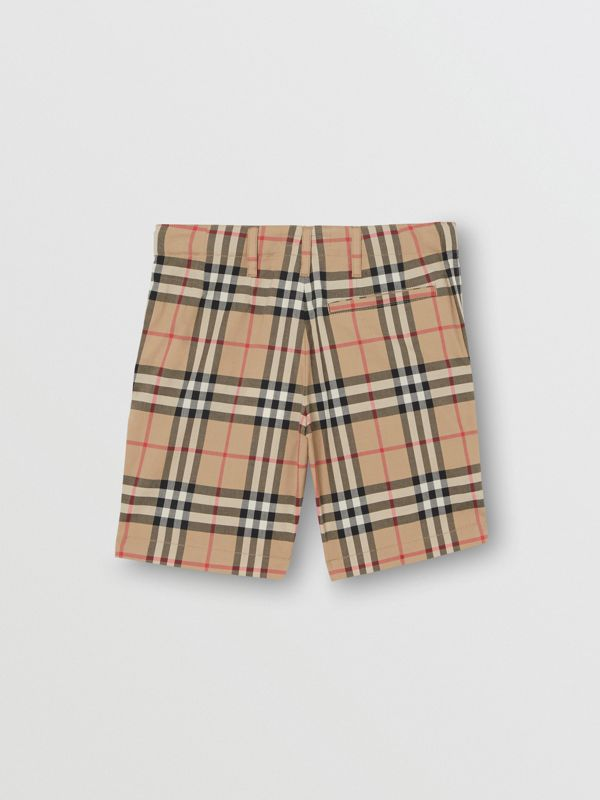 Vintage Check Cotton Tailored Shorts in Archive Beige - Children | Burberry - cell image 3