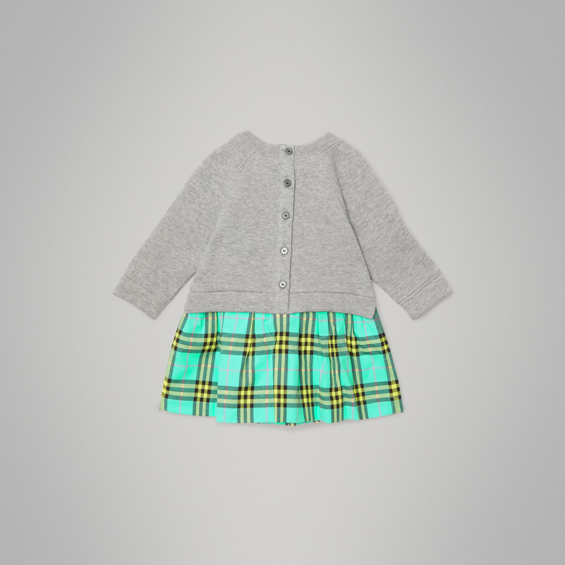 Check Cotton Sweater Dress in Bright Turquoise - Children | Burberry - gallery image 3