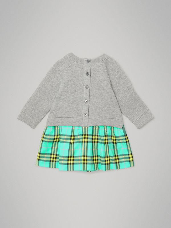 Check Cotton Sweater Dress in Bright Turquoise - Children | Burberry Canada - cell image 3