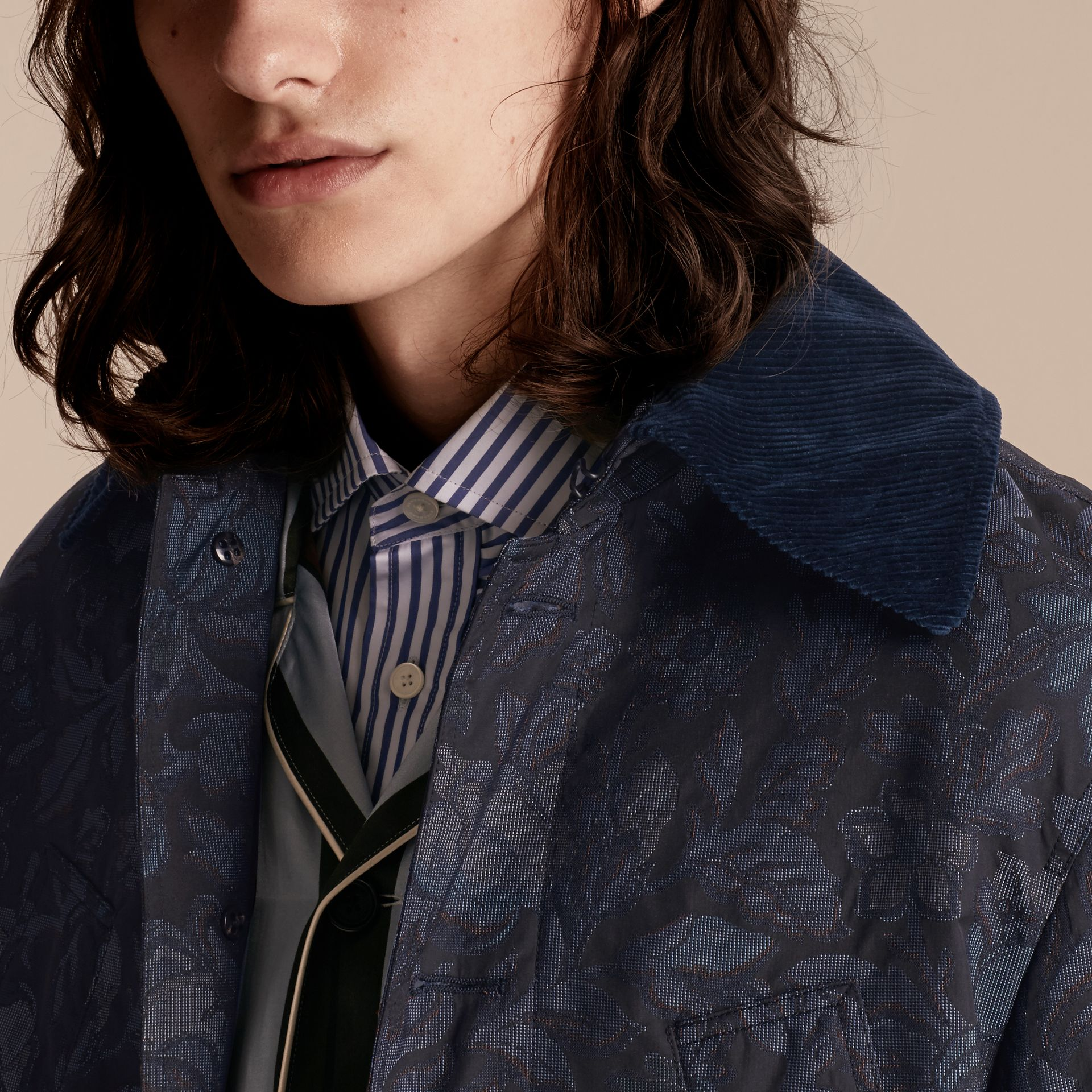 Navy Floral Jacquard Field Jacket with Corduroy Collar - gallery image 5