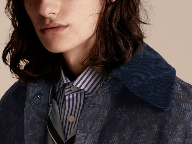 Navy Floral Jacquard Field Jacket with Corduroy Collar - cell image 4