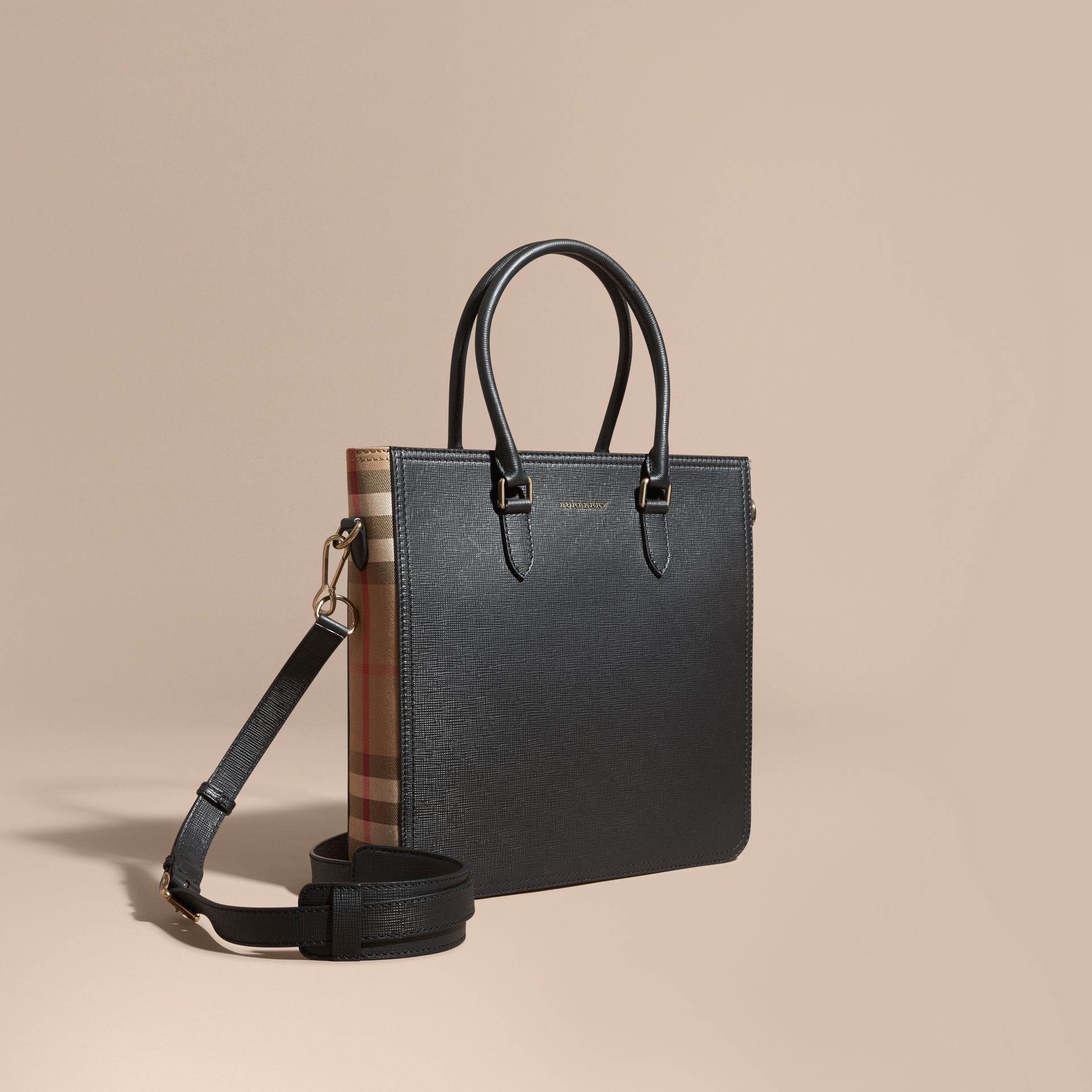 Black London Leather and House Check Tote Bag - gallery image 1