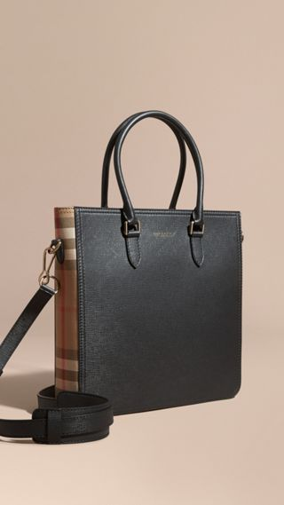 London Leather and House Check Tote Bag