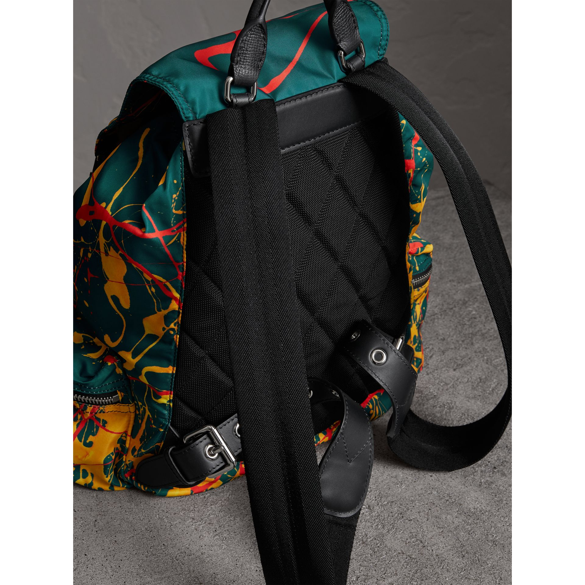 The Large Rucksack in Splash Print in Dark Teal - Men | Burberry - gallery image 3