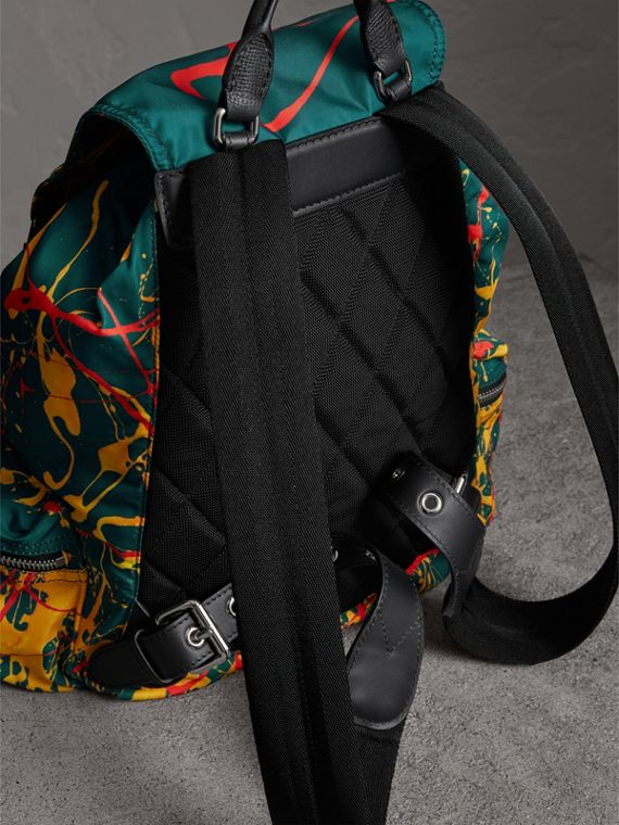 The Large Rucksack in Splash Print in Dark Teal - Men | Burberry Australia - cell image 3