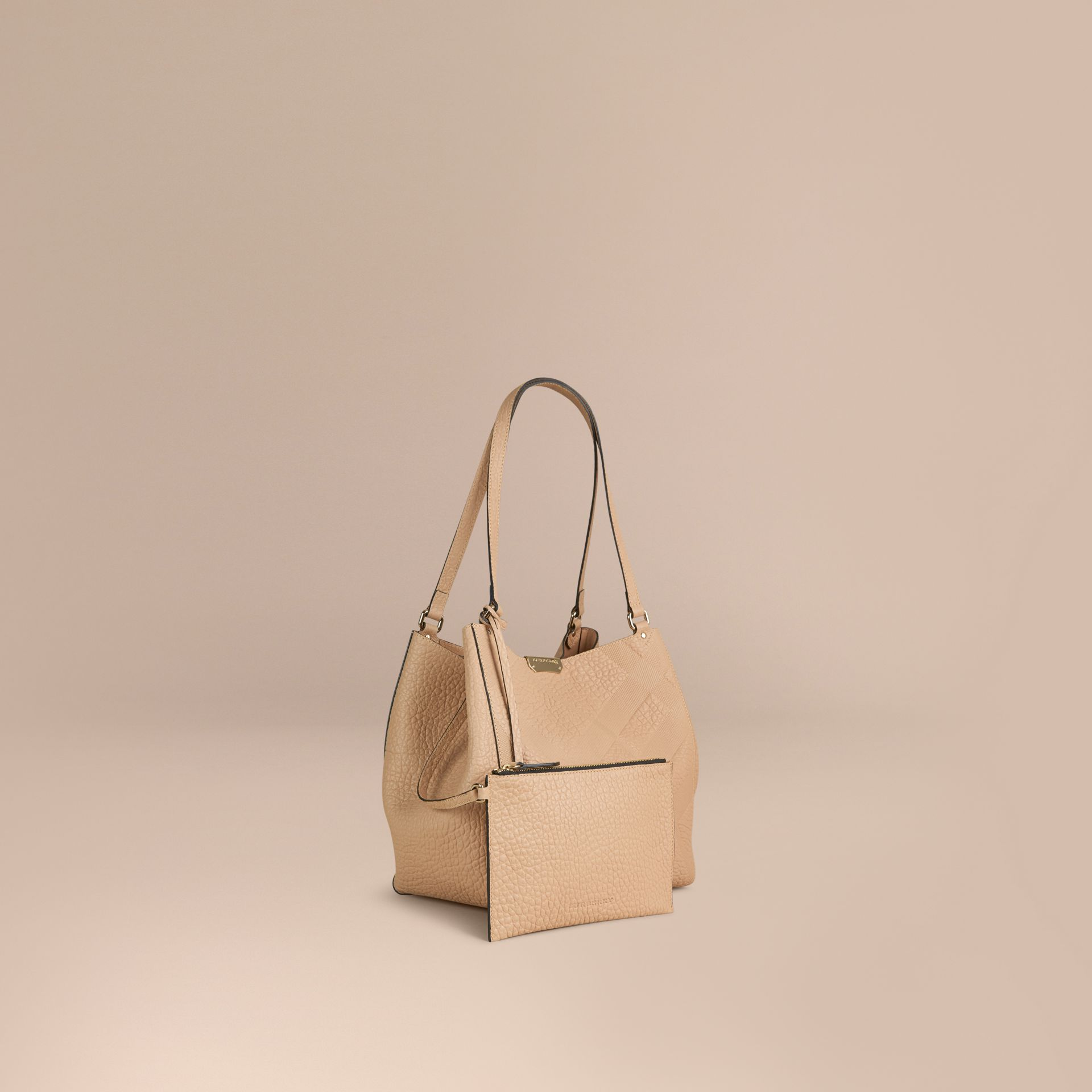 Pale apricot The Small Canter in Embossed Check Leather Pale Apricot - gallery image 1