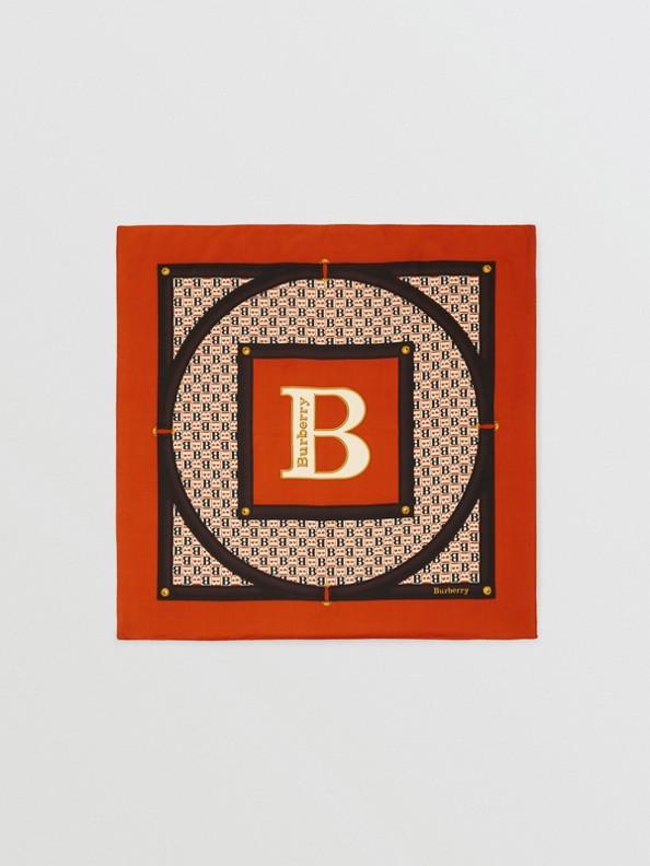 Archive Scarf Print Silk Square Scarf in Bronze