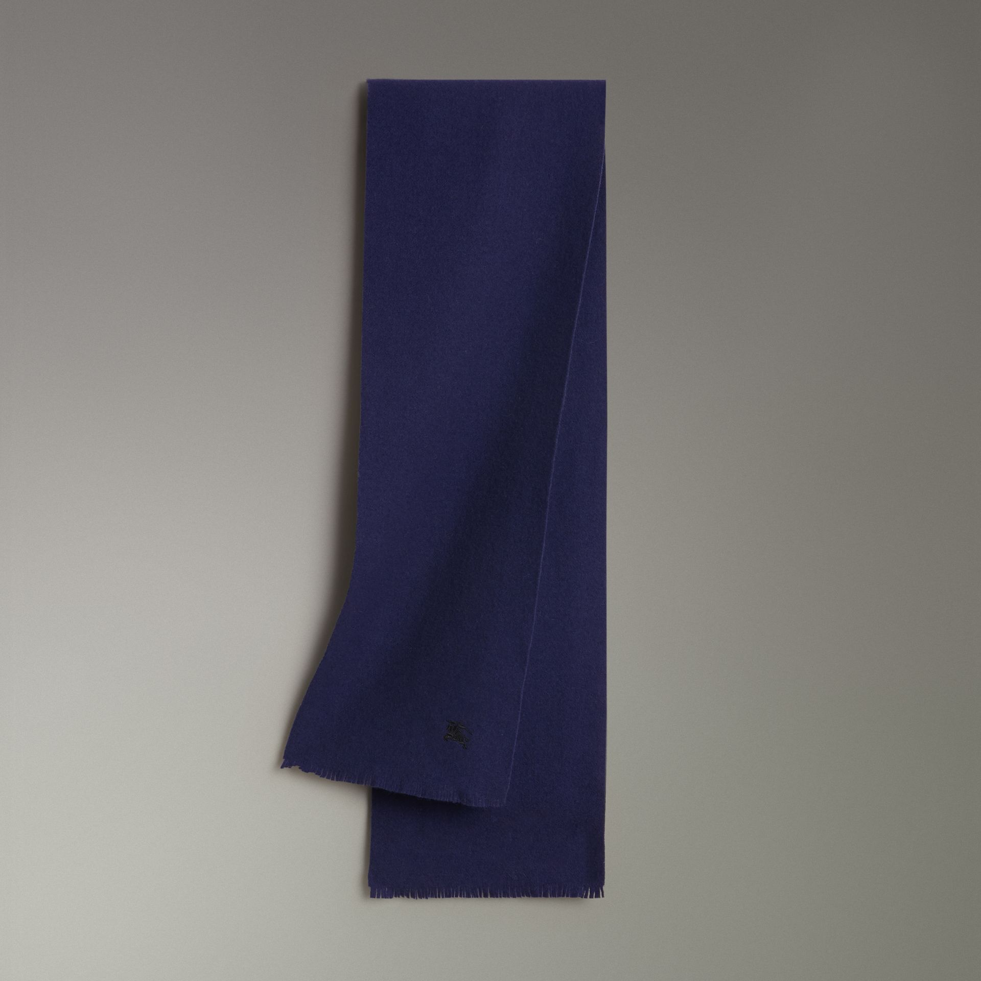 Embroidered Felted Wool Scarf in Navy | Burberry United Kingdom - gallery image 0