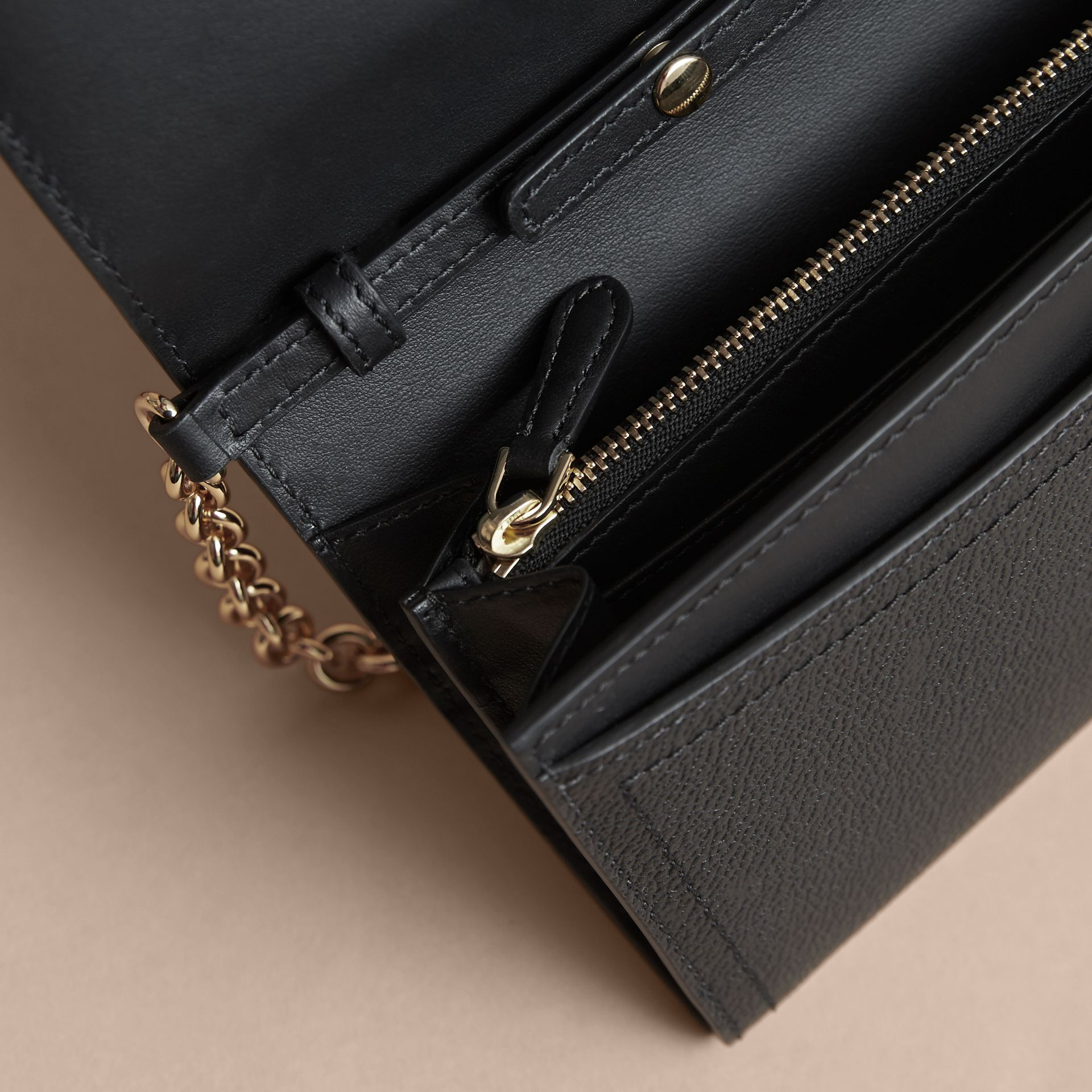 Leather Wallet with Chain in Black - Women | Burberry Australia - gallery image 6