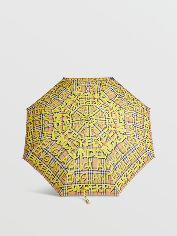Graffiti Vintage Check Print Folding Umbrella in Yellow | Burberry Canada - cell image 2