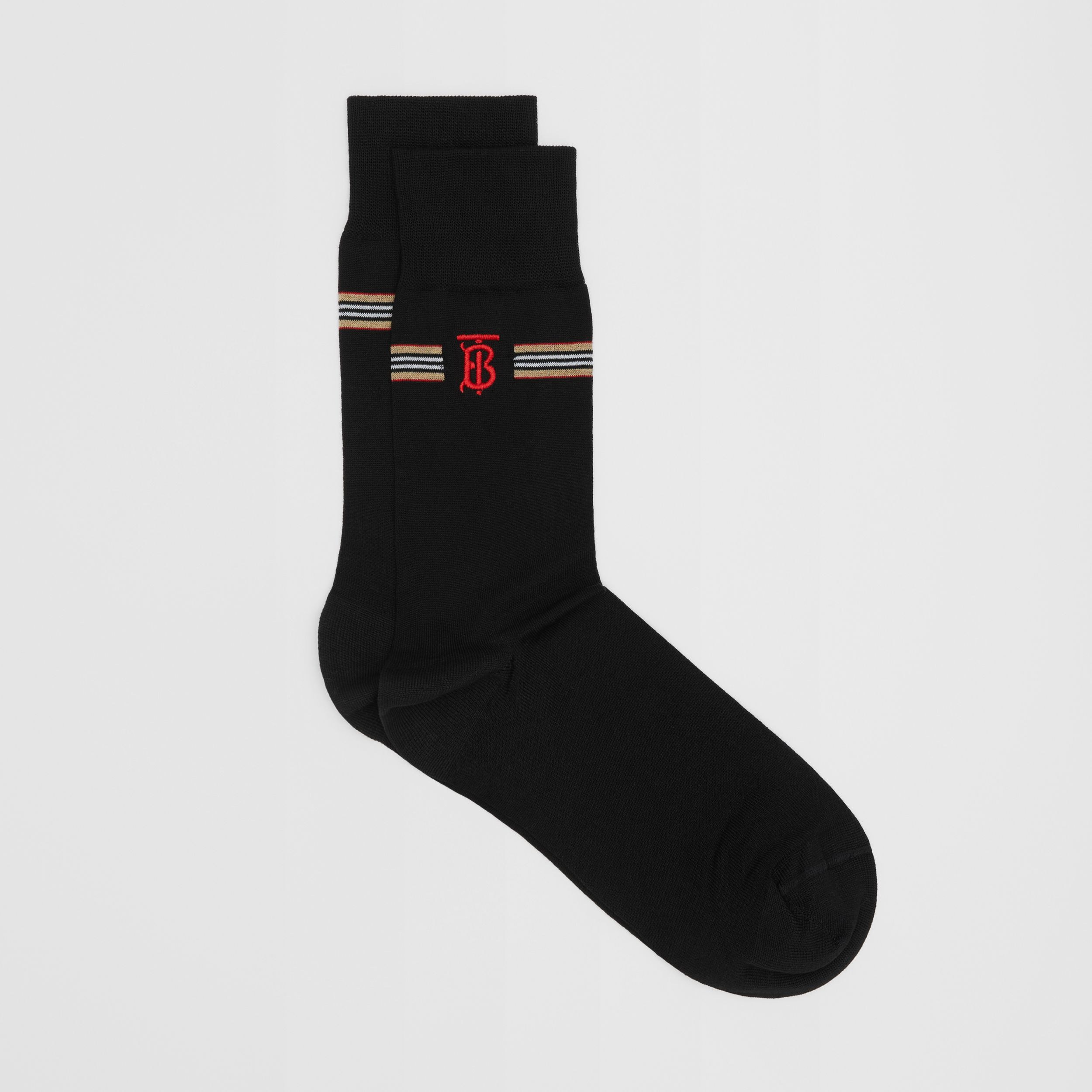 Icon Stripe and Monogram Motif Cotton Blend Socks in Black | Burberry Australia - 3