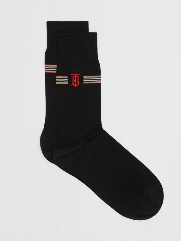 Icon Stripe and Monogram Motif Cotton Blend Socks in Black | Burberry United Kingdom - cell image 2