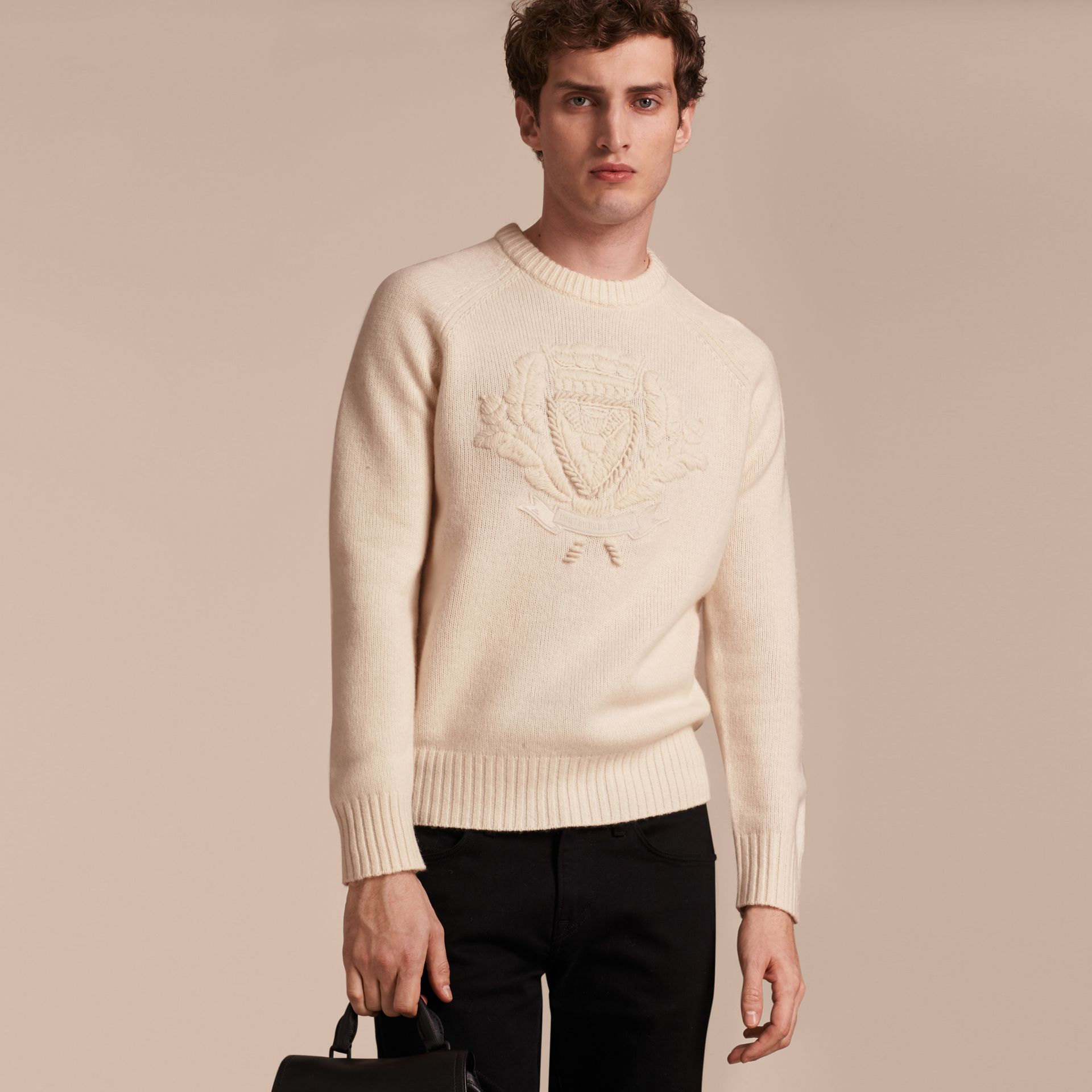 Natural white Embroidered Crest Wool Sweater - gallery image 6