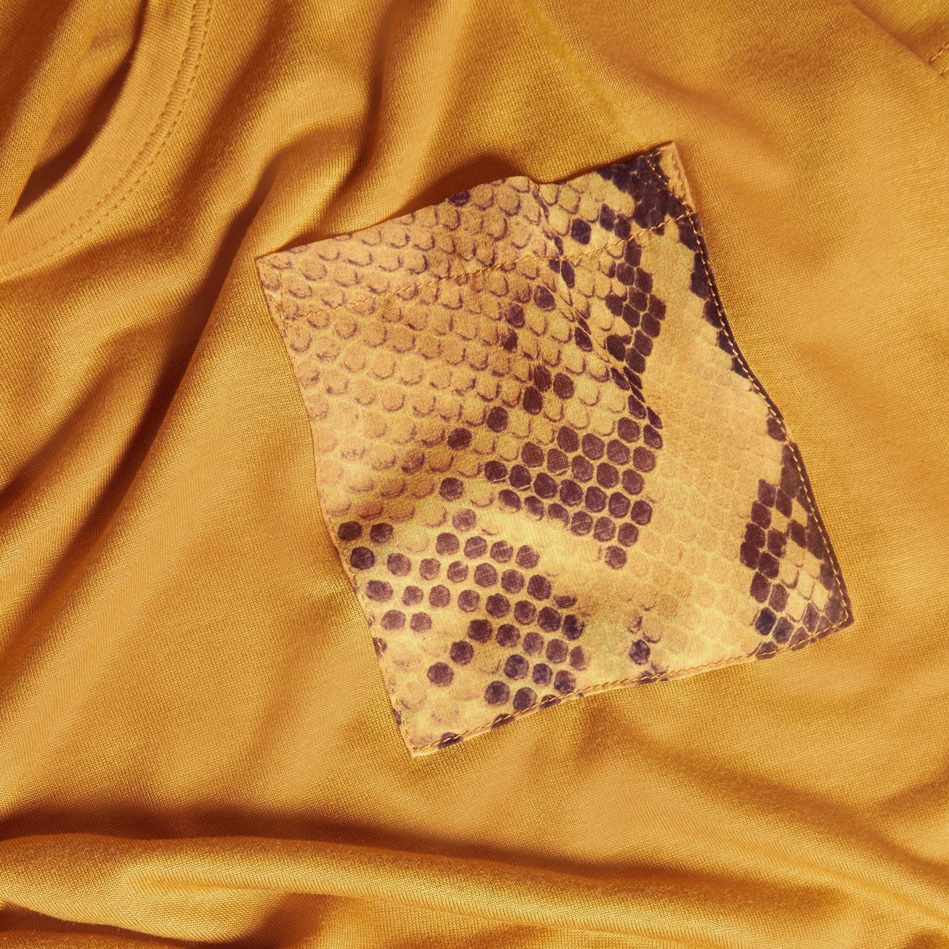 Amber Python Print Detail T-Shirt Amber - gallery image 2