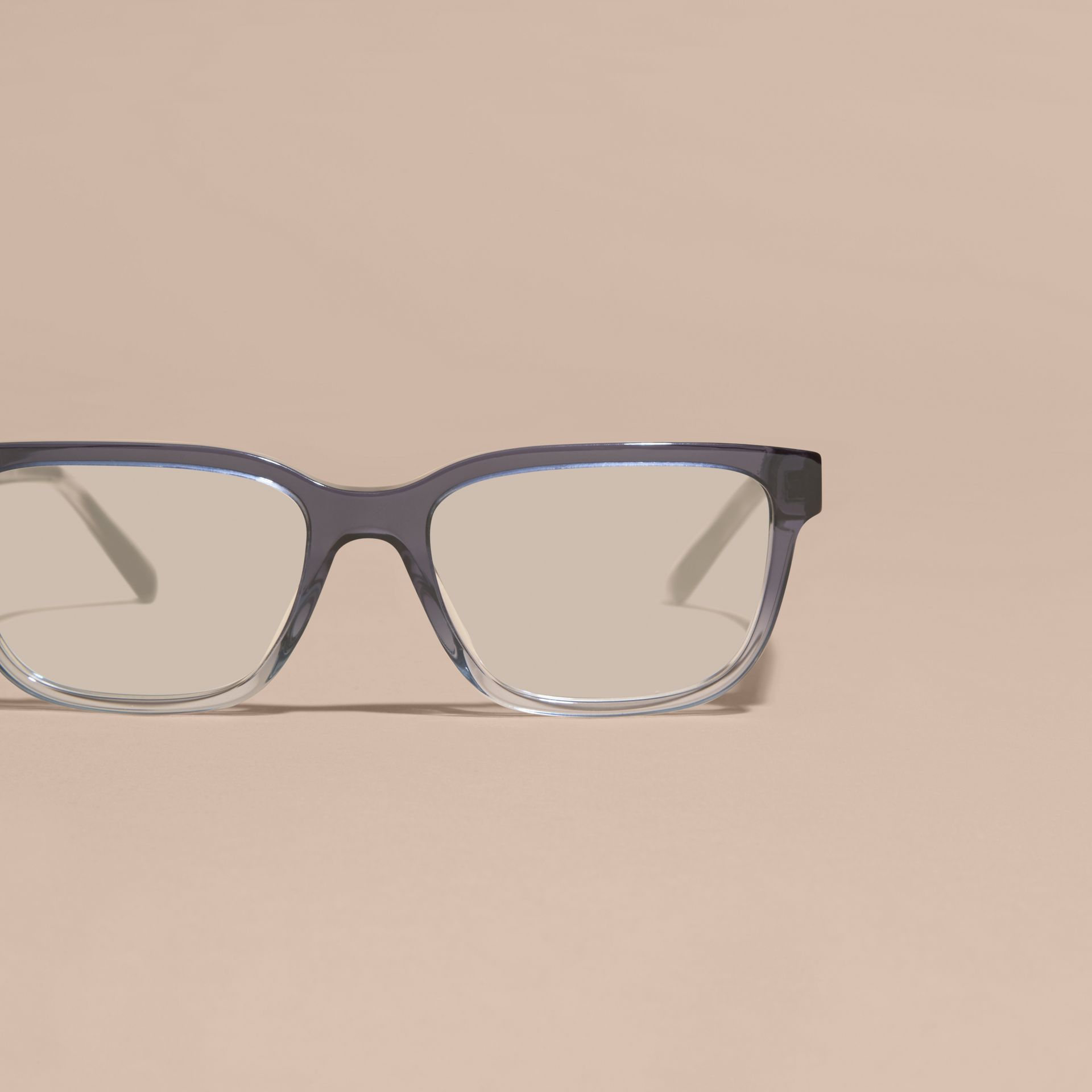 Blue Check Detail Rectangular Optical Frames Blue - gallery image 5