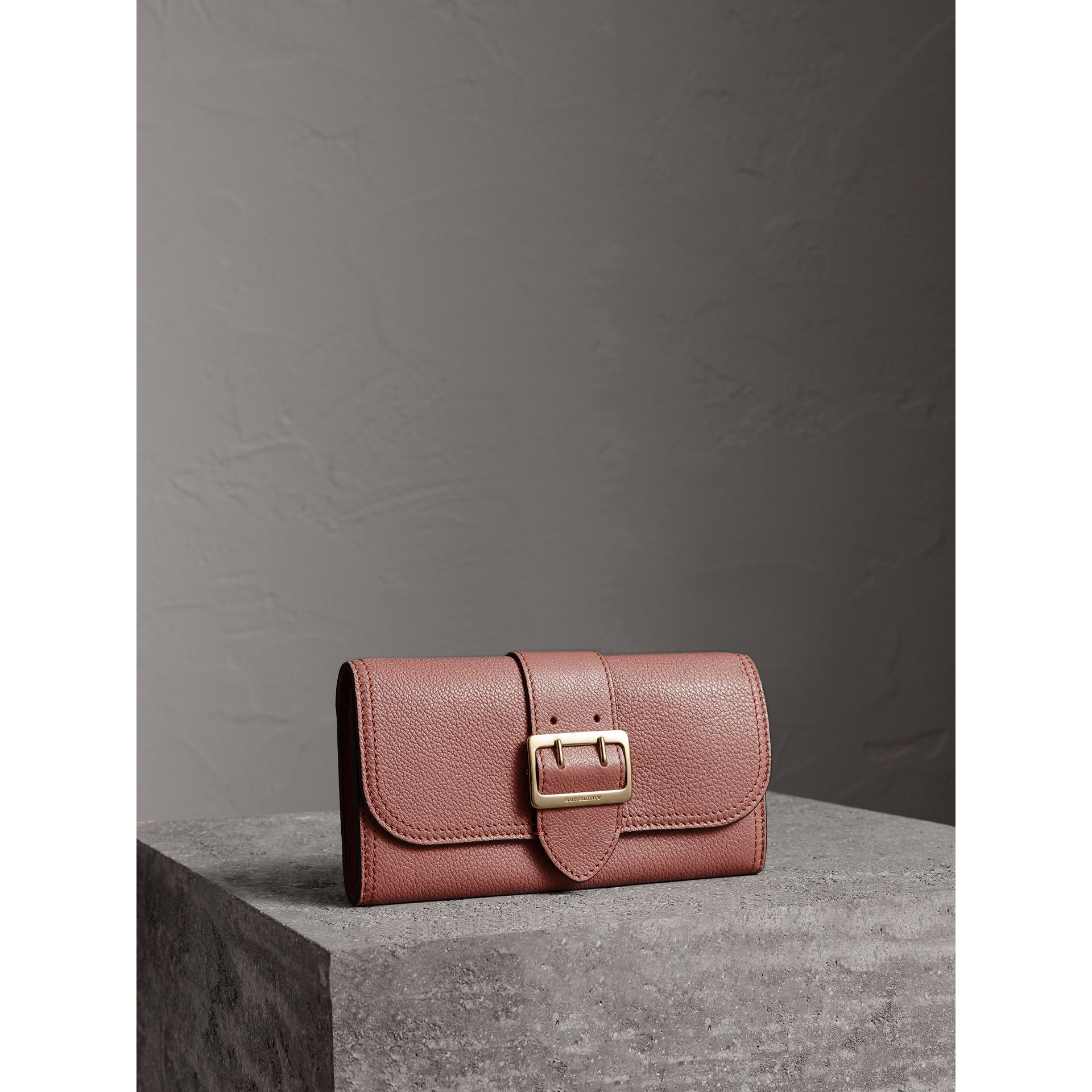 Textured Leather Continental Wallet in Dusty Pink - Women | Burberry - gallery image 1