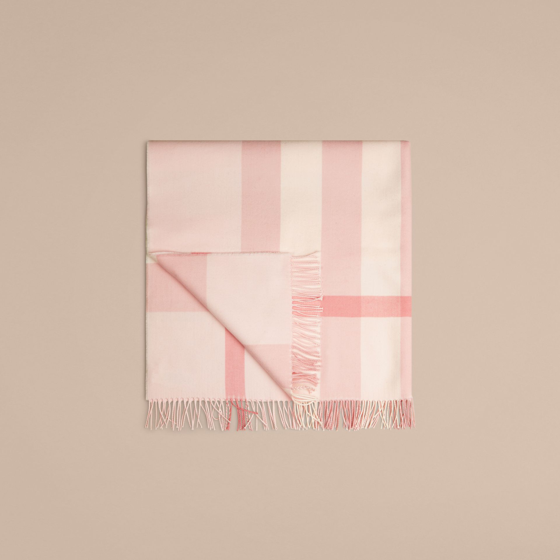Powder pink Check Merino Wool Baby Blanket Powder Pink - gallery image 3