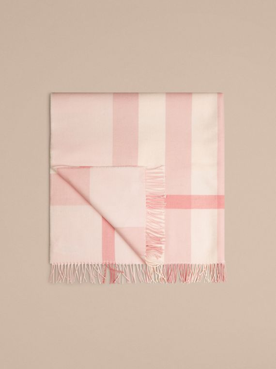 Check Merino Wool Baby Blanket in Powder Pink