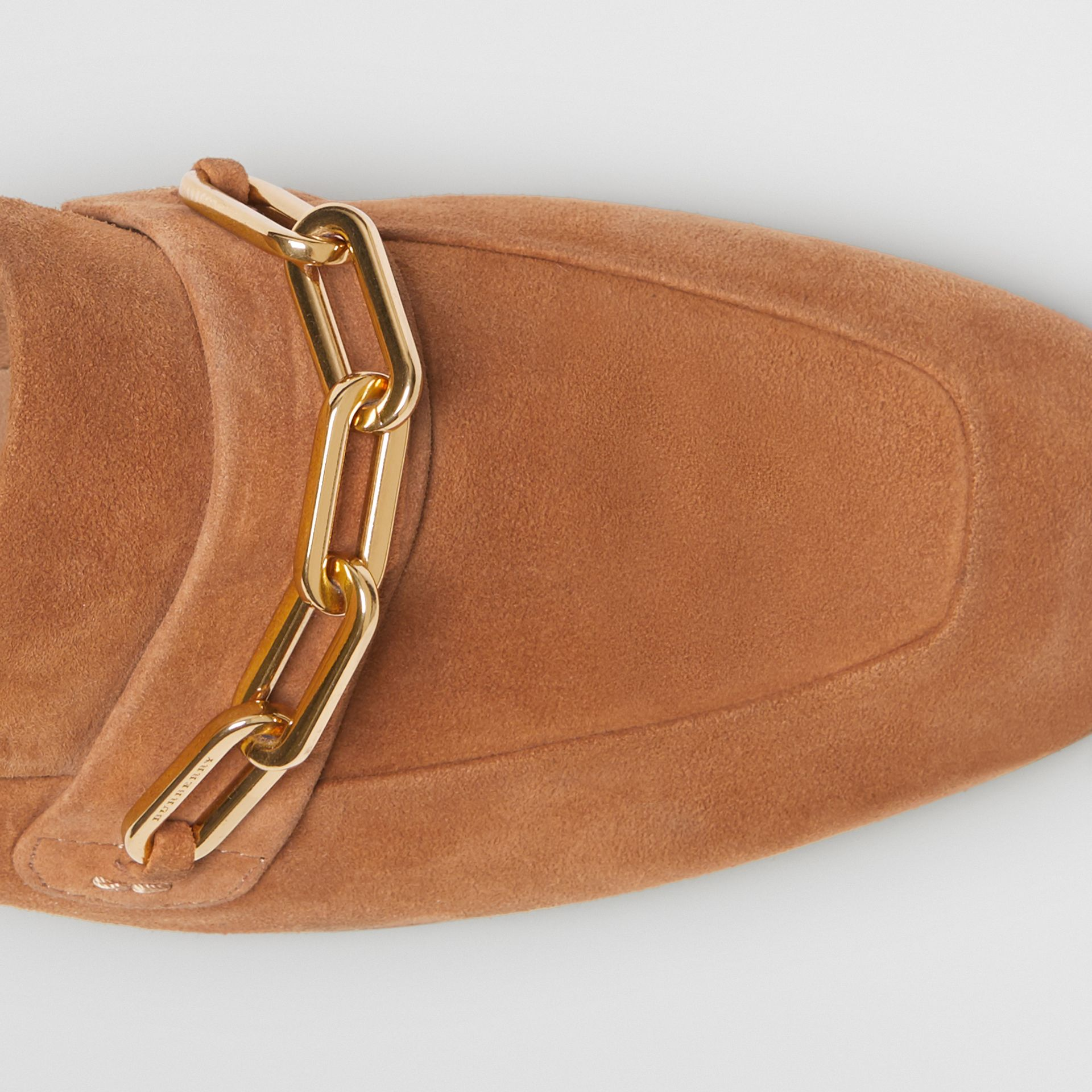 Link Detail Suede Loafers in Mid Camel - Women | Burberry United Kingdom - gallery image 1