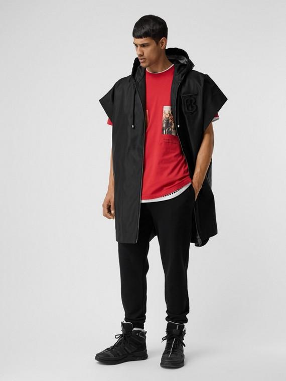Monogram Motif Nylon Oversized Hooded Poncho in Black