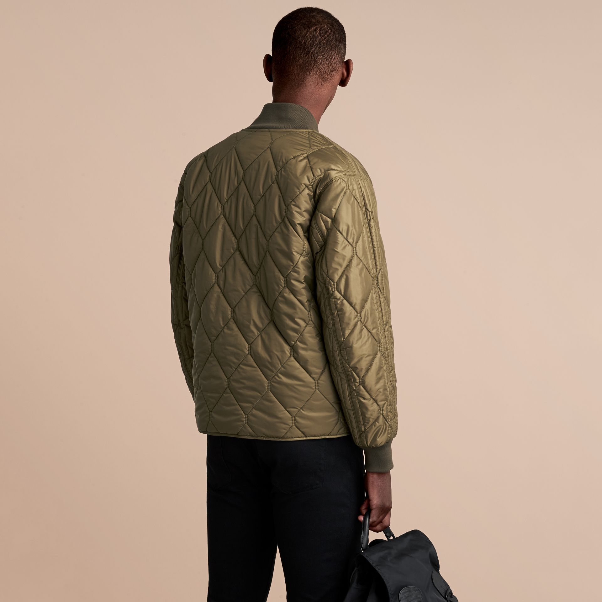 Quilted Bomber Jacket in Khaki - Men | Burberry - gallery image 3