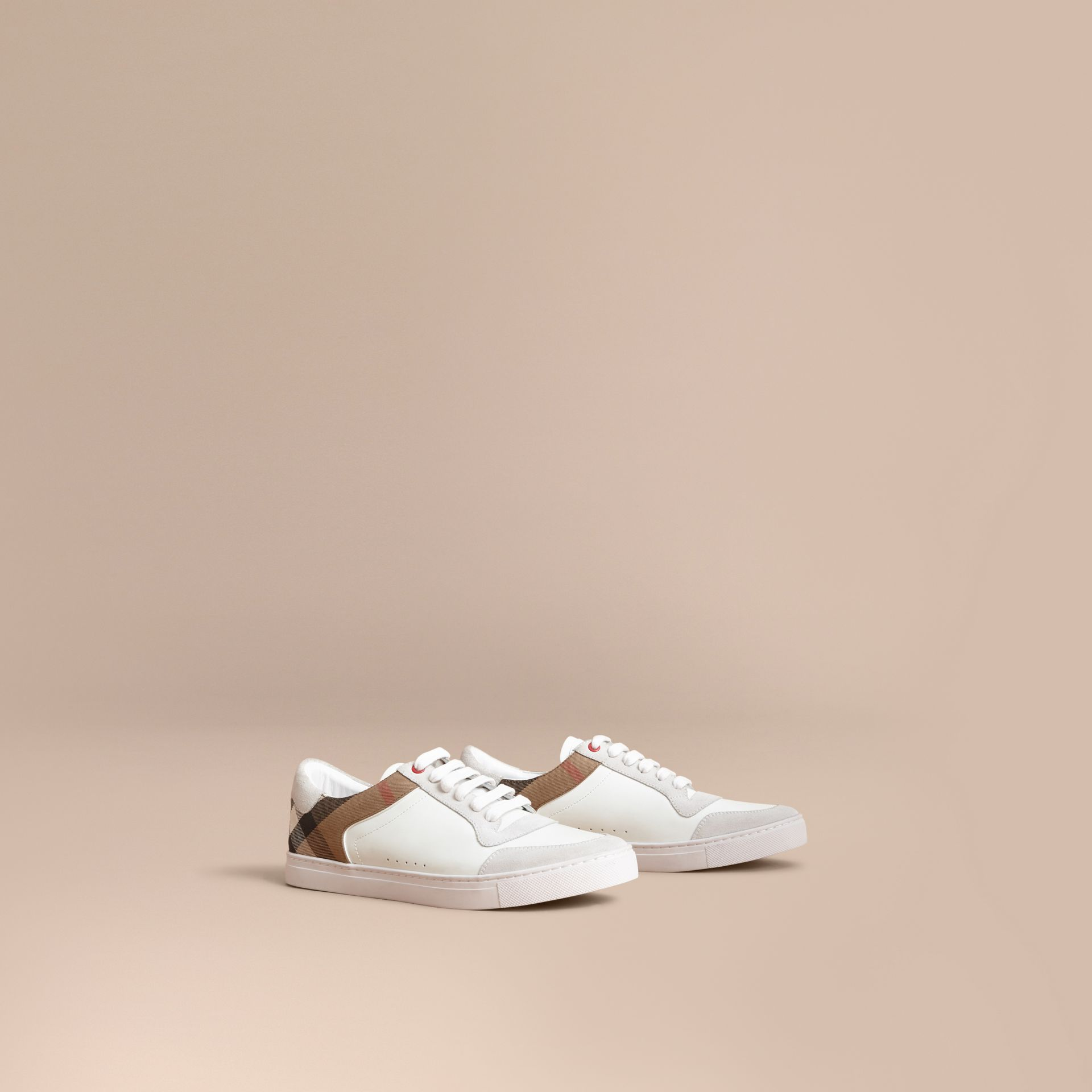 Leather and House Check Trainers in Optic White - Men | Burberry - gallery image 1