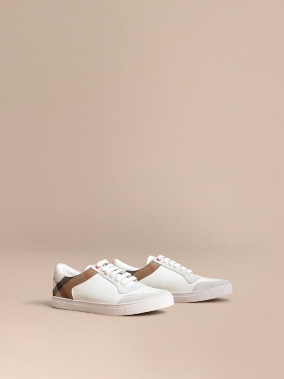 Leather and House Check Trainers in Optic White - Men | Burberry