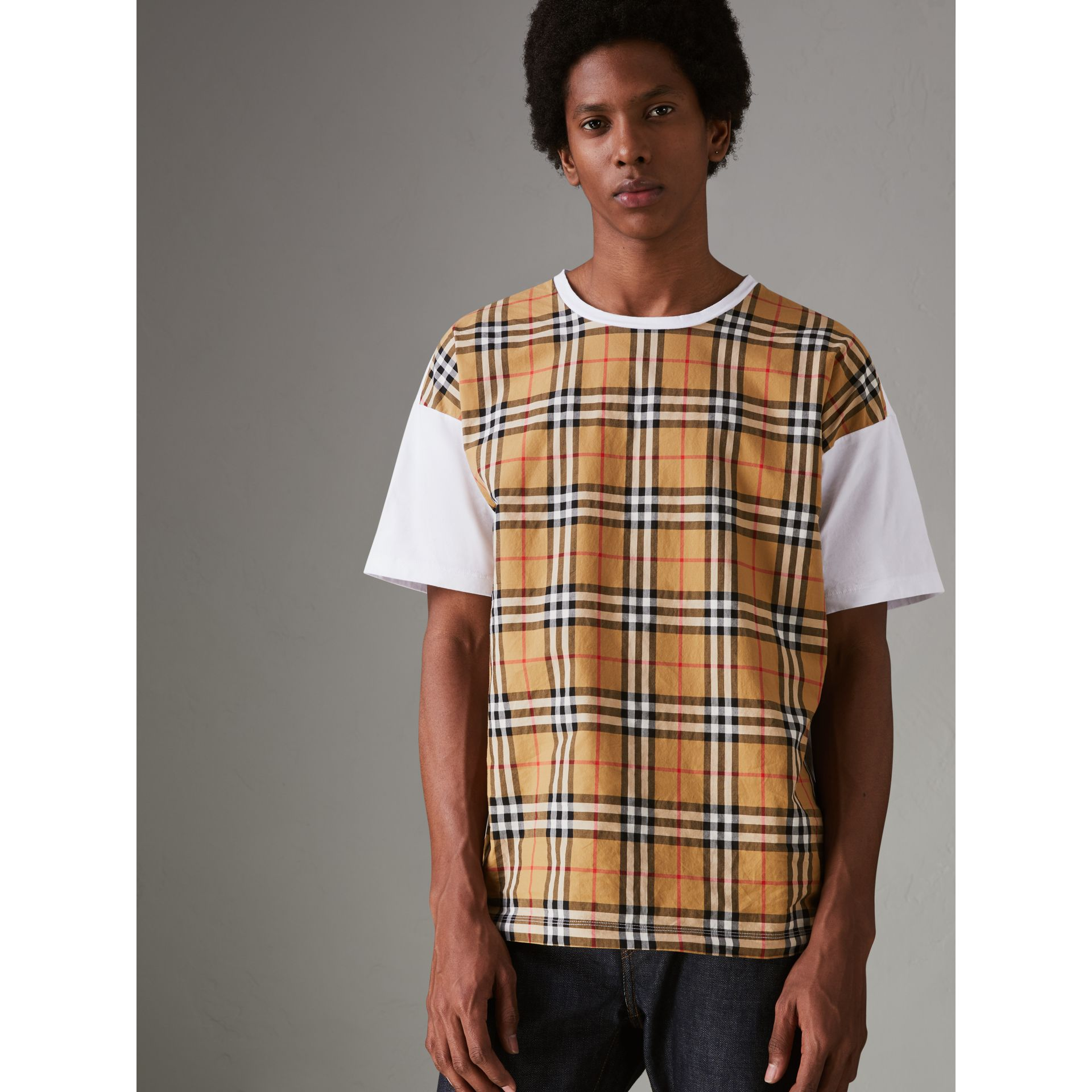 Vintage Check Panel Cotton T-shirt in White - Men | Burberry Singapore - gallery image 4