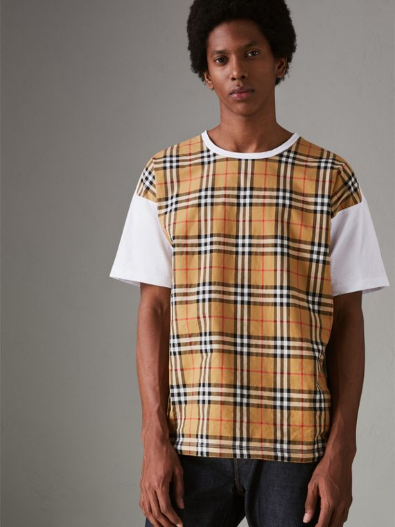 Vintage Check Panel Cotton T-shirt in White