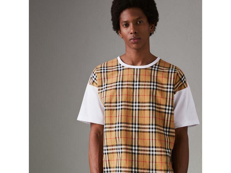 Vintage Check Panel Cotton T-shirt in White - Men | Burberry - cell image 4